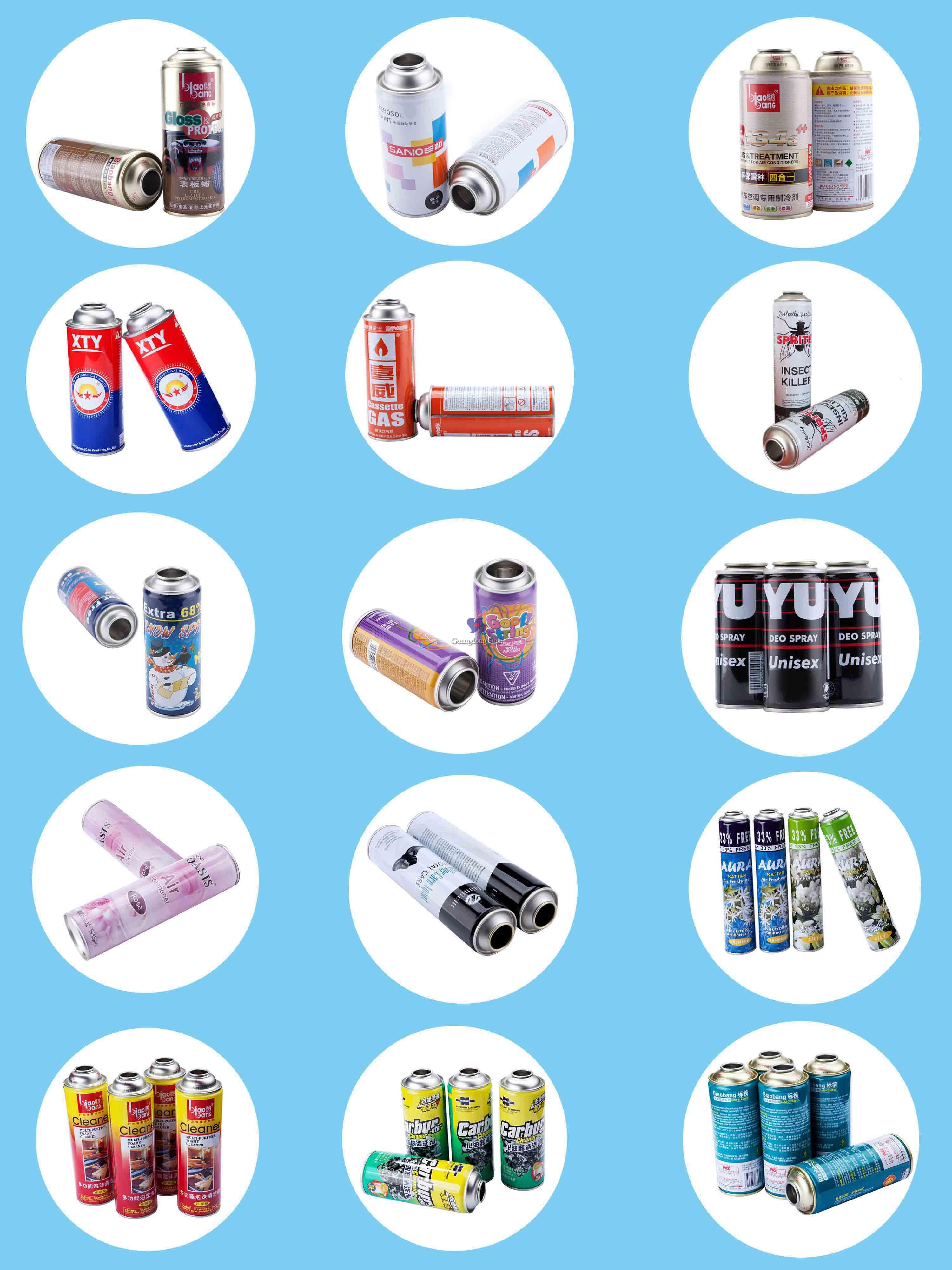 various aerosol tin can sizes